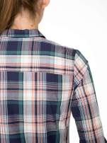 Zielono-granatowa koszula w kratę z kieszeniami