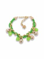 Zielono - złota bransoletka z zawieszkami                                  zdj.                                  1