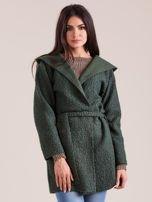 Zielony dzianinowy płaszcz z kapturem                                  zdj.                                  1