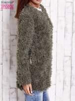 Zielony futrzany sweter kurtka na suwak                                  zdj.                                  5