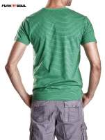 Zielony klasyczny t-shirt męski w paski Funk n Soul                                  zdj.                                  2
