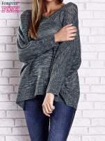 Zielony melanżowy sweter oversize o kroju nietoperz                                  zdj.                                  2
