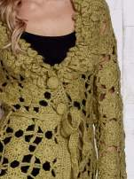 Zielony sweter  z wiązaniem w pasie                                  zdj.                                  7