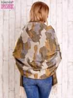 Jasnoróżowy szalik w malarskie desenie                                                                          zdj.                                                                         5