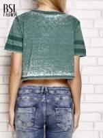 Zielony t-shirt acid wash z literą A                                                                          zdj.                                                                         4