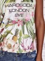 Zielony t-shirt w ananasy z egzotycznym nadrukiem i napisem                                   zdj.                                  6