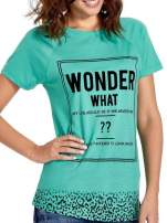 Zielony t-shirt z napisem WONDER WHAT?                                  zdj.                                  5