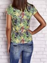 Zielony t-shirt z ptakami i egzotycznym nadrukiem dżungli                                                                          zdj.                                                                         4