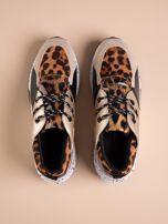 Złote buty sportowe z lakierowaną wstawką w tygrysim printem                                  zdj.                                  2
