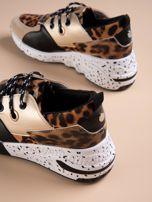 Złote buty sportowe z lakierowaną wstawką w tygrysim printem                                  zdj.                                  3