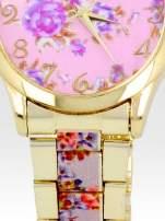 Złoty zegarek damski na bransolecie z jasnoóżowym motywem kwiatowym                                  zdj.                                  5