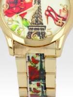 Złoty zegarek damski na bransolecie z motywem Paryża                                  zdj.                                  5
