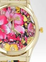 Złoty zegarek damski na bransolecie z różowym motywem kwiatowym                                  zdj.                                  6