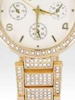 Złoty zegarek damski na cyrkoniowej bransolecie                                  zdj.                                  5