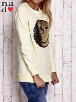 Ciemnoszara bluza z dwustronną naszywką z cekinów