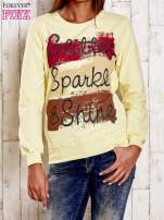 Biała bluza z napisem GLITTER SPARKLE SHINE                                                                          zdj.                                                                         1