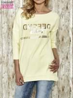 Żółta bluza ze złotym napisem i suwakiem                                                                          zdj.                                                                         1