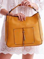 Żółta miękka torba na ramię z ćwiekami                                  zdj.                                  4
