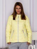 Żółta pikowana kurtka przejściowa z ozdobnymi suwakami                                  zdj.                                  1