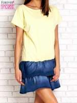 Ciemnoniebieska sukienka dresowa z jeansowym dołem                                                                          zdj.                                                                         3