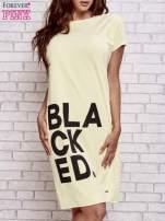 Żółta sukienka dresowa z napisem BLACKED                                                                          zdj.                                                                         1