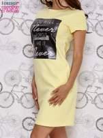 Żółta sukienka dresowa z napisem YOU WILL NEVER FORGET ME                                  zdj.                                  3