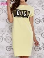 Żółta sukienka dresowa ze złotym napisem TOUCH                                  zdj.                                  1