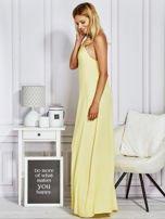 Żółta sukienka maxi z wiązaniem na szyi                                                                          zdj.                                                                         1