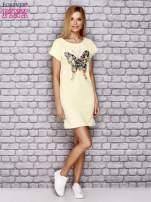 Żółta sukienka z cekinowym motylem                                  zdj.                                  4