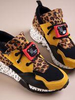 Żółte buty sportowe na podwyższeniu z kolorową podeszwą i motywem w panterkę                                  zdj.                                  4