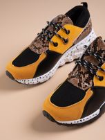 Żółte buty sportowe z wstawką w wężowy print                                  zdj.                                  4