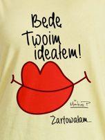 Żółty t-shirt damski BĘDĘ TWOIM IDEAŁEM by Markus P                                  zdj.                                  2