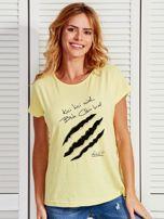 Żółty t-shirt damski KICI KICI MIAŁ by Markus P                                  zdj.                                  1