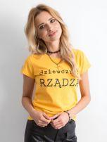 Żółty t-shirt damski z napisem                                  zdj.                                  1