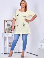 Żółty t-shirt z aplikacją PLUS SIZE                                  zdj.                                  4