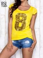 Żółty t-shirt z cekinową cyfrą 8                                  zdj.                                  1