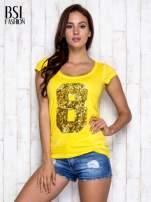 Żółty t-shirt z cekinową cyfrą 8                                  zdj.                                  5
