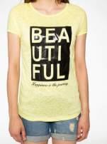 Żółty t-shirt z nadrukiem BEAUTIFUL