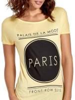Żółty t-shirt z nadrukiem PARIS
