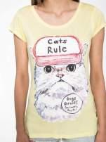 Żółty t-shirt z nadrukiem kota i napisem CATS RULE                                  zdj.                                  6