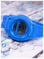 sportowy niebieski zegarek z tarczą poświetlaną na 2 kolory,WR30,alarm. Wygodny silikonowy pasek.                                  zdj.                                  3